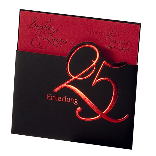 Einladungskarte Silberhochzeit Rot Schwarz Mit Folienpragung