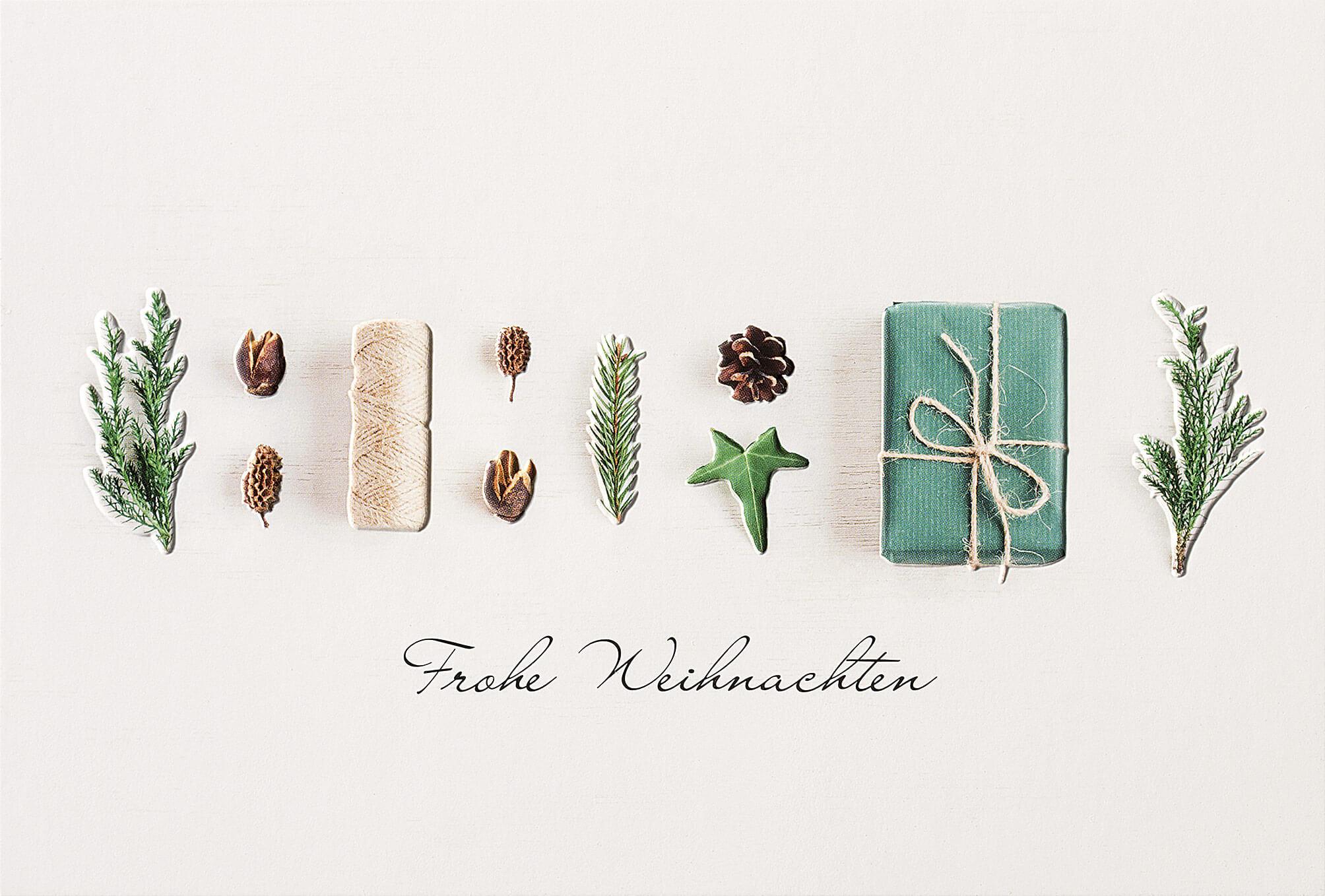 Moderne Weihnachtsgrüße Für Karten.Ausgefallene Weihnachtskarte Mit Samen Zweigen Geschenk Und Schnur