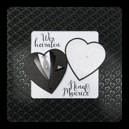 Hochzeitskarte Exclusiv Braut Und Brautigam In Herzform In Schwarz