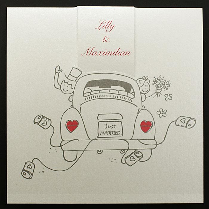 Hochzeitskarte Brautpaar Comic Vw Kafer Just Married Pr16352