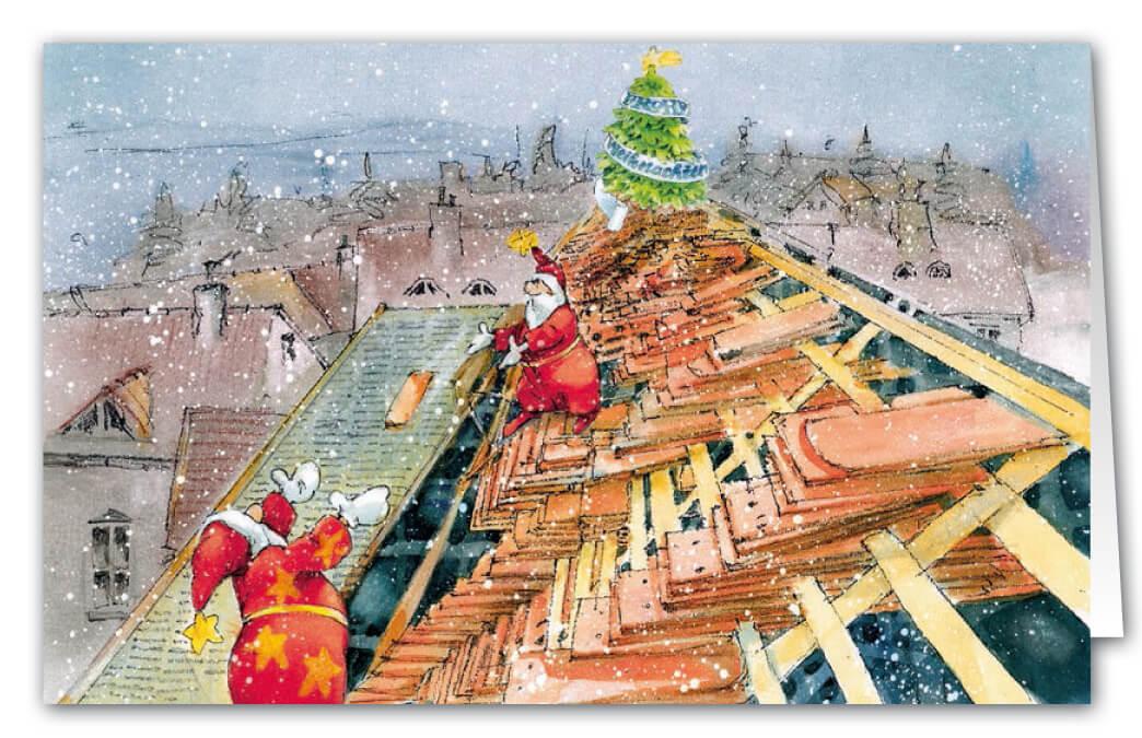 weihnachtskarte fuer dachdecker und zimmereibetrieb als