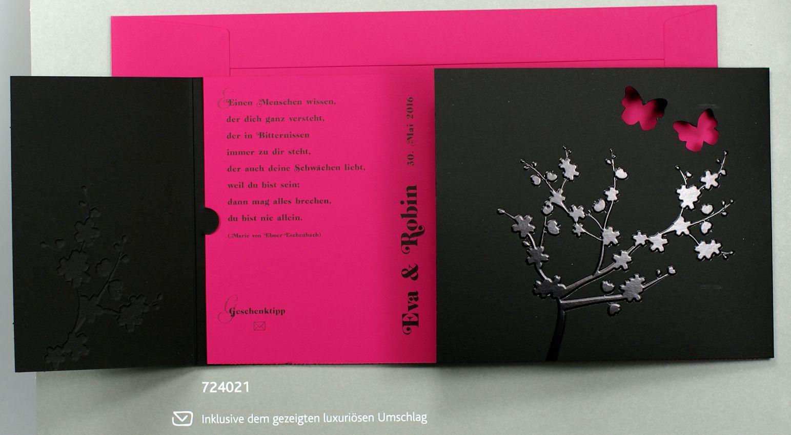 Hochzeitskarte Schwarz Pink Mit Glanzlack Und Schmetterlingen