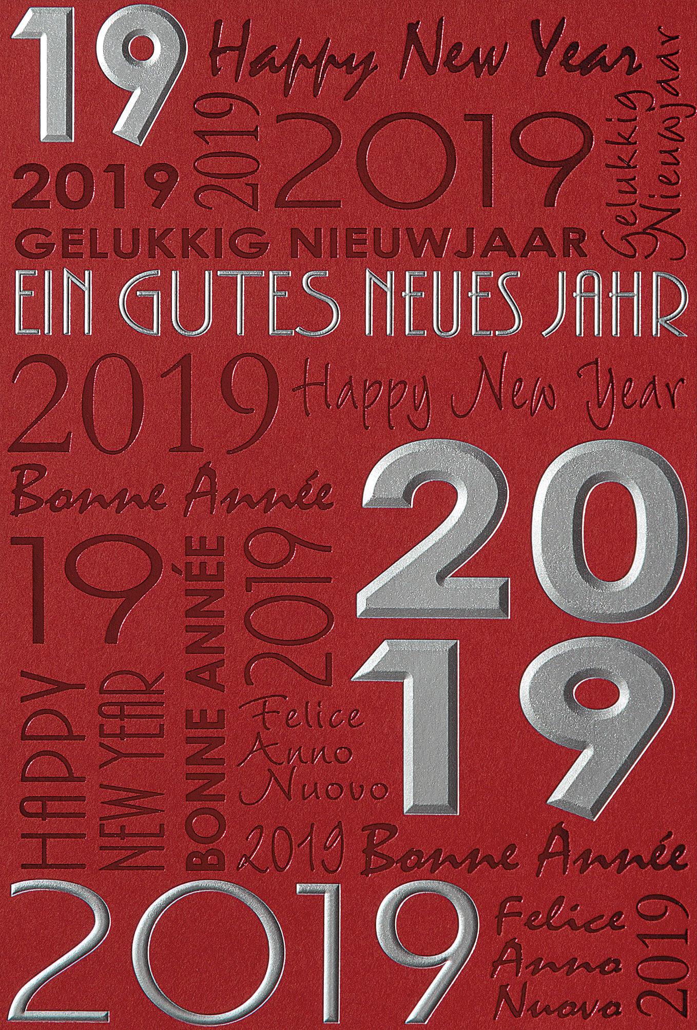 neujahrskarte rot mit neujahrsgru und jahreszahl 2019 in. Black Bedroom Furniture Sets. Home Design Ideas