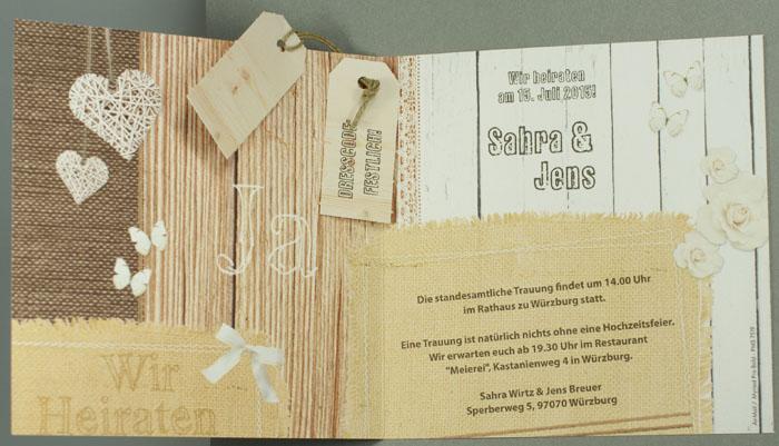 hochzeitskarte ja wir heiraten holzdekor jute herzen ba723073, Einladung