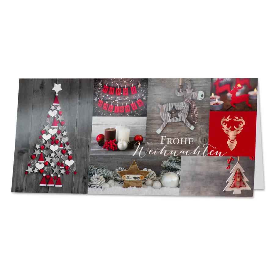 klassische weihnachtskarte mit weihnachtlichen motiven und. Black Bedroom Furniture Sets. Home Design Ideas