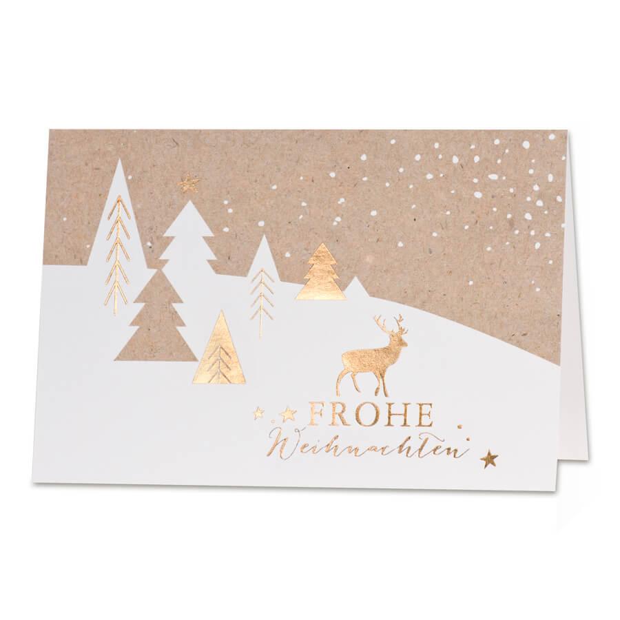 rustikale weihnachtskarte in wei und braun mit hirsch und. Black Bedroom Furniture Sets. Home Design Ideas