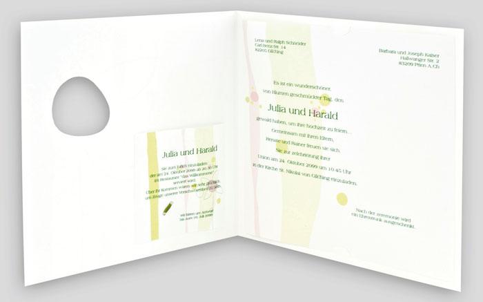 einladungskarte blumen muster fensterausschnitt grünlich jc647, Einladungsentwurf