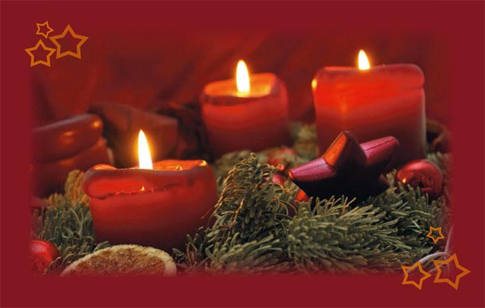 Weihnachtskarte weihnachtsstimmung kerzen adventskranz for Weihnachtskarte foto online