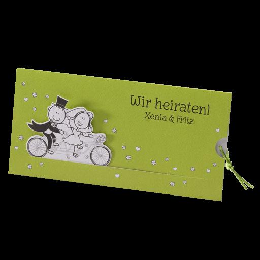 Hochzeitskarte Fahrradtour Mit Brautpaar Auf Einem Tandem
