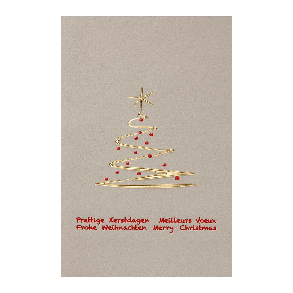 Weihnachtskarten Exklusiv.Exklusive Graue Weihnachtskarte Moderner Weihnachtsbaum Und Intenationalen Weihnachts Grußworten