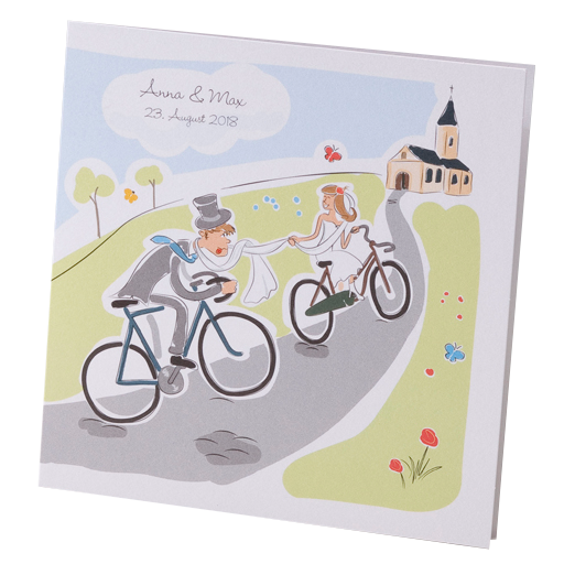 Hochzeitskarte Brautpaar Auf Fahrradern Auf Dem Weg Zur Kirche